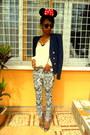 H-m-pants-navy-vila-blazer-h-m-round-sunglasses-cream-blouse