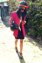 beige and black dress - hot pink Vertigo blazer