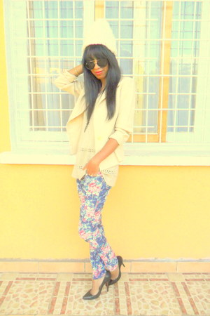 floral pants - jacket - H&M sunglasses - crochet top - Christian Louboutin pumps