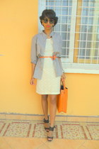 cream lace dress - black shoes - periwinkle shirt - carrot orange bag