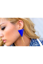 Royal Blue Triangle Earrings