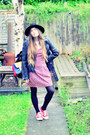 Red-strawberry-kats-dress-black-h-m-hat-black-unif-jacket