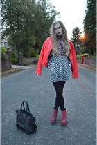 red Topshop jacket - ruby red Jeffrey Campbell boots - ruby red Topshop shirt