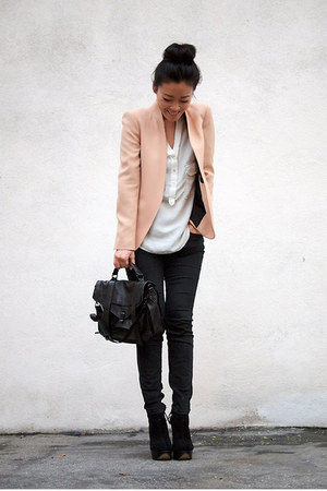 black Proenza bag - peach Zara blazer - black skinny thrifted pants