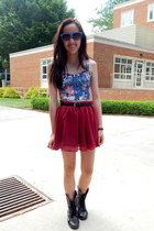 red Forever 21 skirt - black combat Charlotte Russe boots