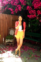 camel Jeffrey Campbell shoes - hot pink Millau blazer - gold Millau shorts