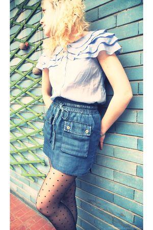 blue H&M blouse - blue Zara skirt - gray H&M tights