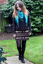black asos dress - black Topshop boots - turquoise blue H&M scarf