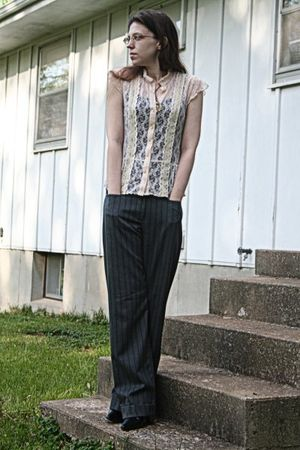 beige Fang blouse - gray Reality Check pants - black SO top - black Donna Lawren