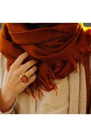 brick red scarf - brown jacket - nude shirt - gold ring - burnt orange ring