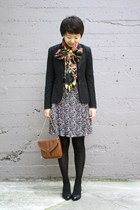 black coach shoes - black Theory blazer - black H&M scarf - blue pleated Anthrop