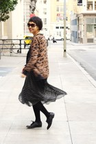 black polka dot chictopia shop dress - dark brown Zara cardigan