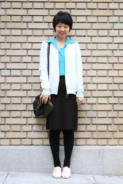 pink alice  olivia for keds shoes - blue Anthropologie cardigan - brown Theory s
