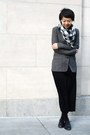 Gray-bcbg-blazer-black-anne-klein-scarf-black-zoe-d-skirt