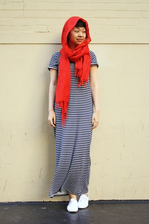 black Zara dress - white Keds shoes - red scarf