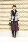 Pink-thrifted-skirt-brown-old-navy-cardigan-black-american-apparel-stockings
