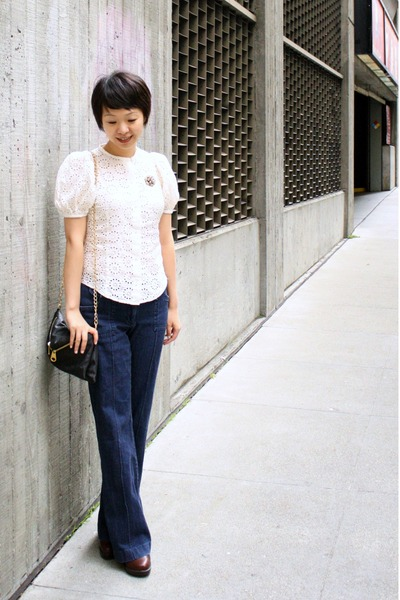 blue H&M jeans - brown born shoes - white Anthropologie top