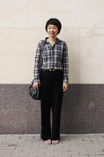 black plaid Theory shirt - black Anne Klein pants