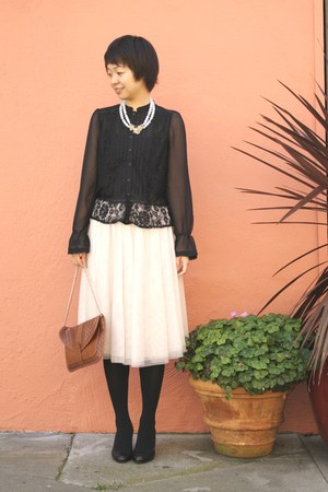 black wedge coach shoes - black victorian style H&M shirt - nude maxi skirt H&M