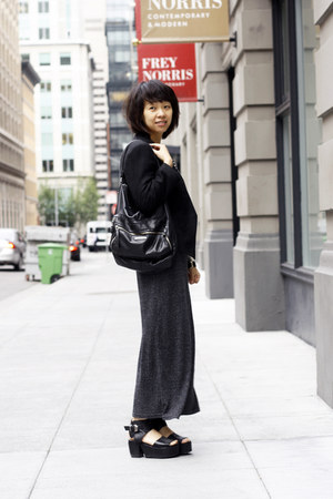 dark gray maxi royal mint dress - black Helmut Lang blazer