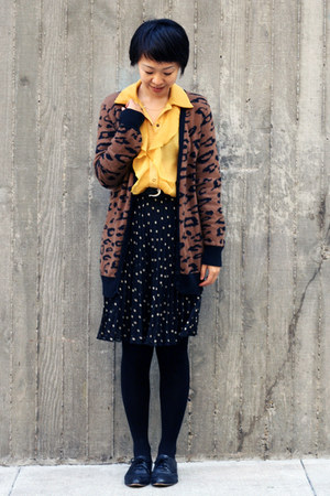 yellow ABS shirt - black polka dot H&amp;M skirt