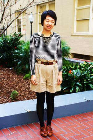 black Zara top - beige Zara shorts - brown miz mooz shoes - ForLove 21 necklace