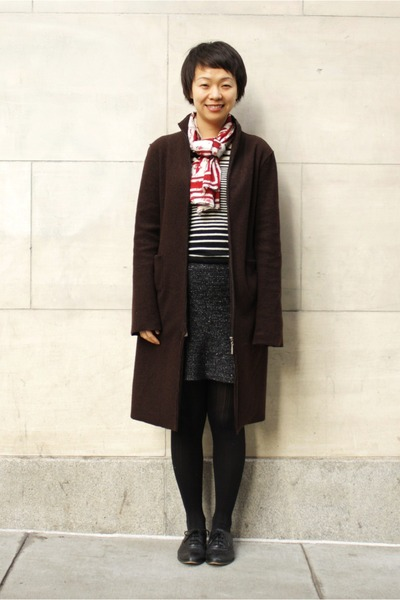 dark brown vera moda coat - ruby red Zara scarf - black Uniqlo skirt