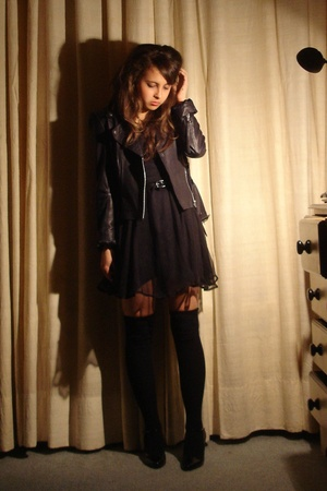 black Topshop jacket - black vintage shoes - black Lux dress - black H&M socks