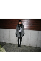 gray Bik Bok coat - black Bik Bok t-shirt - black H&M shoes - black GINA TRICOT