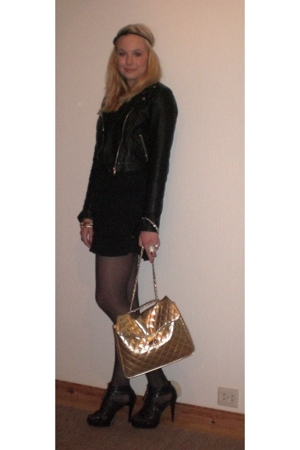 H&amp;M dress - H&amp;M jacket - GoJane shoes - pieces purse - by Helene accessories