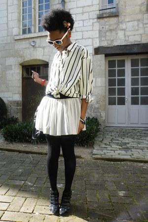 ivory H&M shirt - tutu skirt Zara skirt - buckles heels Bata heels