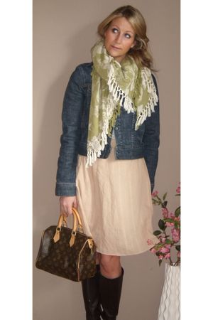 blue Gap jacket - green vintage scarf - beige Anthropologie skirt - brown Louis