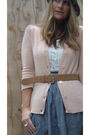 Pink-rubbish-cardigan-beige-gap-belt-gray-forever-21-skirt-white-blouse-