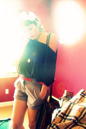 black alloy shirt - H&amp;M shorts - red  belt - white Forever 21 accessories