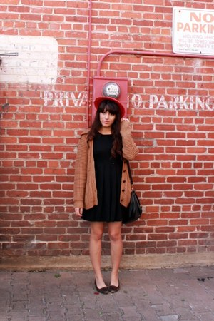 modcloth hat - dress - sweater - vintage loafers