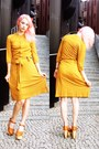 Mustard-vila-dress-tawny-made-in-china-wedges