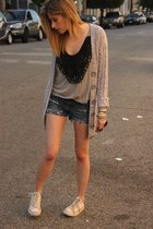 Collective Concepts blouse - Zinc sweater - DIY shorts - Converse sneakers