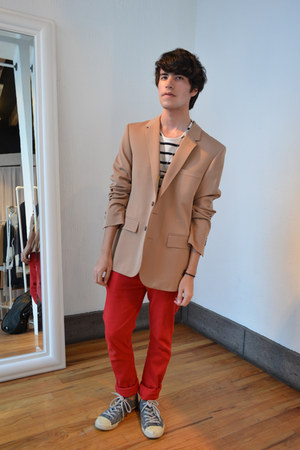 red Peoples Market jeans - beige Maison Martin Margiela for H&amp;M blazer