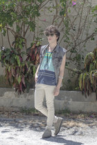 maison martin margiela necklace - H&M jeans - Ray Ban sunglasses