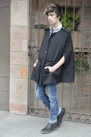 H&M cape - pull&bear boots - Zara jeans - asos shirt