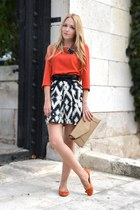 black Zara skirt - beige Zara bag - black asos belt - carrot orange Zara blouse