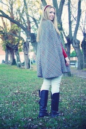 black Zara boots - beige Zara pants - heather gray Zara cape - ruby red Zara jum