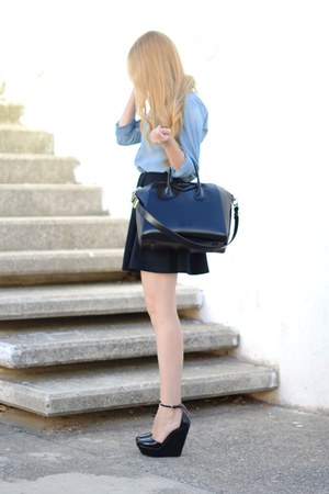 Zara wedges - Givenchy bag - Topshop skirt