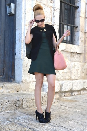 black Queens Wardrobe cape - black Mango boots - dark green Zara dress