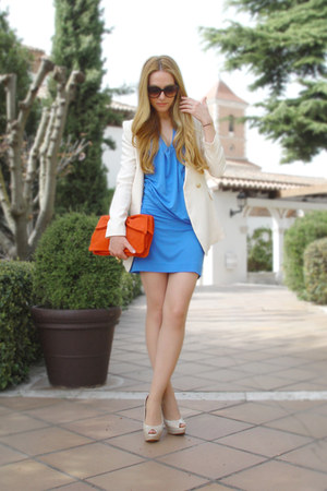 blue Mango dress - cream Queens Wardrobe blazer - carrot orange Mango bag