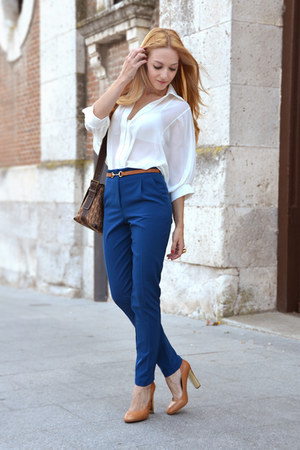 blue Topshop pants - tan Carolina Herrera bag - tan Zara pumps