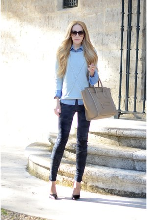 SANDRO sweater - Celine purse - Zara pants
