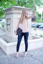 navy Zara jeans - black Chanel bag - light yellow Pura Lopez sandals - peach Bim