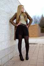 bronze Zara coat - black Zara shorts - black Zara heels - dark khaki Zara jumper
