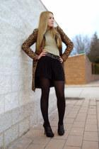 bronze Zara coat - black Zara shorts - black Zara heels - dark khaki Zara jumper
